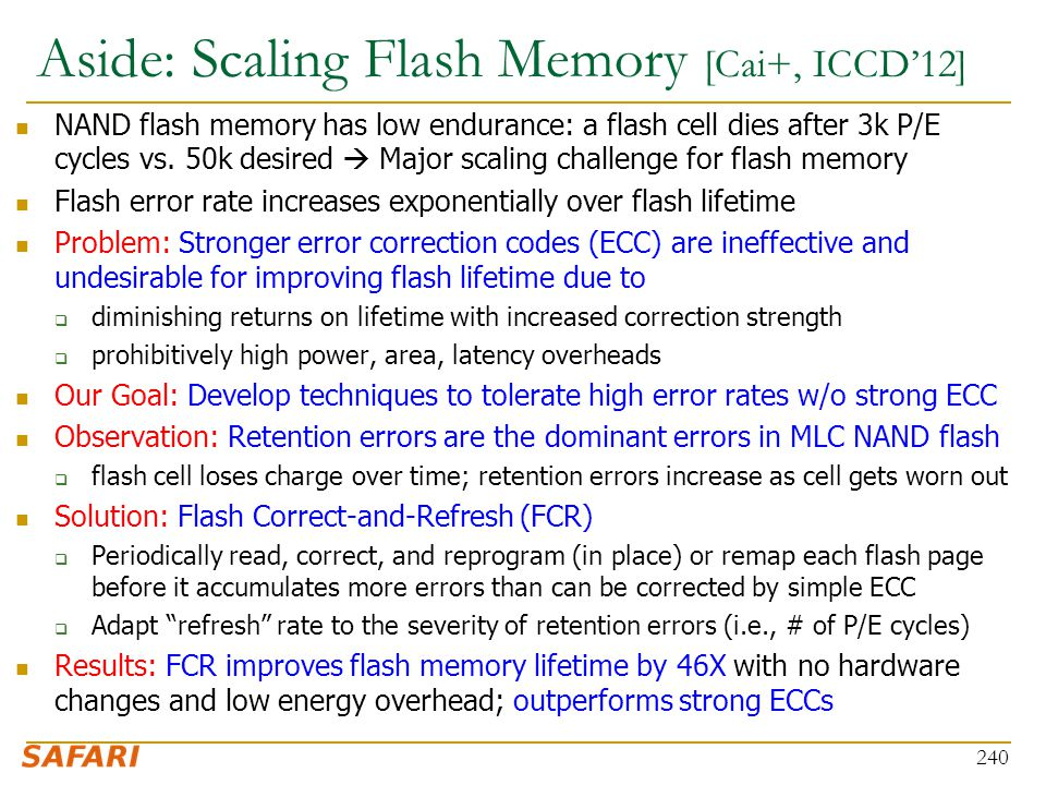 Aside: Scaling Flash Memory [Cai+, ICCD'12]